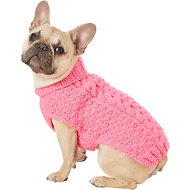 Chilly Dog Pink Cable Dog & Cat Sweater, Small