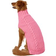 Chilly Dog Pink Cable Dog Sweater, X-Large