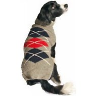 Chilly Dog Grey Argyle Dog Sweater, XX-Large