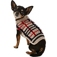 Chilly Dog Tan Plaid Dog Sweater, XX-Small
