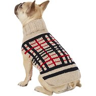 Chilly Dog Tan Plaid Dog Sweater, Small