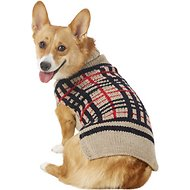 Chilly Dog Tan Plaid Dog & Cat Sweater, Medium