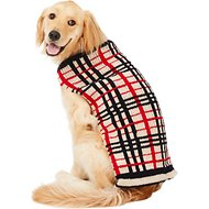 Chilly Dog Tan Plaid Dog & Cat Sweater, XX-Large