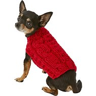 Chilly Dog Red Cable Dog & Cat Sweater, XX-Small