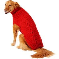 Chilly Dog Red Cable Dog Sweater, X-Large
