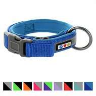 Pawtitas Soft Adjustable Reflective Padded Dog Collar, Blue, Large/X-Large