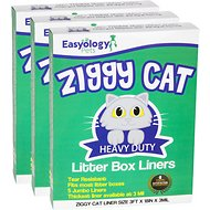 Easyology Ziggy Cat Heavy Duty Disposable Litter Box Liners, 15 count