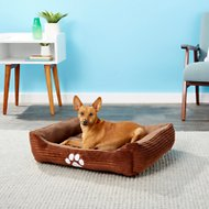 HappyCare Textiles Corduroy Reversible Rectangle Dog & Cat Bed, Medium, Brown