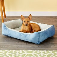 HappyCare Textiles Suede Reversible Rectangle Dog & Cat Bed, Medium, Blue