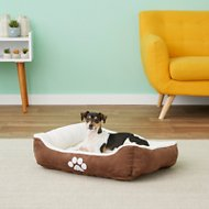 HappyCare Textiles Sherpa Reversible Rectangle Dog & Cat Bed, Medium, Brown