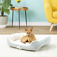 HappyCare Textiles Sherpa Reversible Rectangle Dog & Cat Bed, Turquoise, Medium
