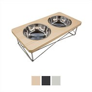 Easyology Stainless Steel Elevated Dog & Cat Feeder Bowls, Beige