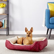 HappyCare Textiles Reversible Rectangle Quilted Dog & Cat Bed, Red, Medium