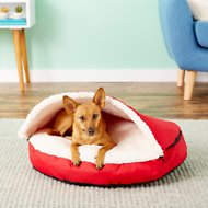 HappyCare Textiles Round Dog & Cat Cave Bed, Red