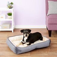 HappyCare Textiles Luxury Embossed Rectangle Dog & Cat Bed, Burn Out Grey, Large