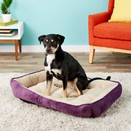HappyCare Textiles Luxury Embossed Rectangle Dog & Cat Bed, Burn Out Purple, Large