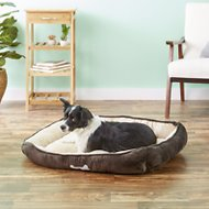HappyCare Textiles Classic Rectangle Dog & Cat Bed, Brown, Large