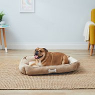 HappyCare Textiles Classic Rectangle Dog & Cat Bed, Taupe, Large