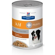 Hill's Prescription Diet K/D Kidney Care + Mobility Care with Chicken & Vegetable Stew Canned Dog Food, 12.5-oz, case of 12