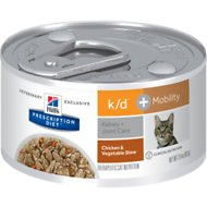 Hill's Prescription Diet k/d Kidney Care + Mobility Care with Chicken & Vegetable Stew Canned Cat Food, 2.9-oz, case of 24
