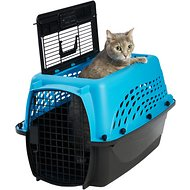 Frisco Two Door Top Load Plastic Kennel, Blue, 24-in