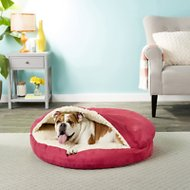 Snoozer Pet Products Luxury Microsuede Cozy Cave Dog & Cat Bed, Red, Large