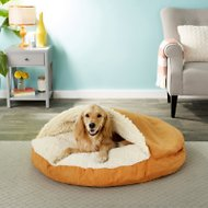 Snoozer Pet Products Luxury Microsuede Cozy Cave Dog & Cat Bed, Orangeade, X-Large