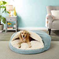 Snoozer Pet Products Orthopedic Luxury Microsuede Cozy Cave Dog & Cat Bed, Aqua, X-Large