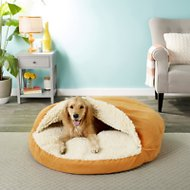 Snoozer Pet Products Orthopedic Luxury Microsuede Cozy Cave Dog & Cat Bed, Orangeade, X-Large