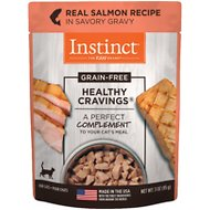 Instinct by Nature's Variety Healthy Cravings Grain-Free Real Salmon Recipe Wet Cat Food Topper, 3-oz pouch, case of 24
