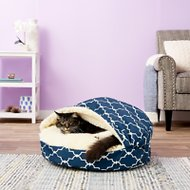 Snoozer Pet Products Indoor/Outdoor Cozy Cave Dog & Cat Bed, Garden Gate Navy, Small