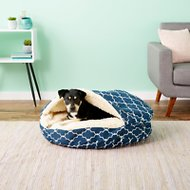 Snoozer Pet Products Orthopedic Indoor/Outdoor Cozy Cave Dog & Cat Bed, Garden Gate Navy, Large