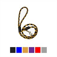 Downtown Pet Supply Rope Dog Leash, Black & Yellow, 3-ft