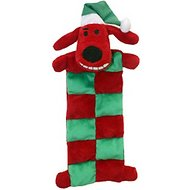 Multipet Christmas Loofa Squeaker Mat Plush Dog Toy, Color Varies, 12-inch