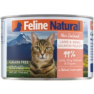 Feline Natural Lamb and Salmon Feast Grain-Free Canned Cat Food, 6-oz, case of 24
