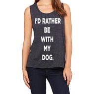 I'd Rather Be With My Dog Women's Vintage Muscle Tank Top, Black, Small