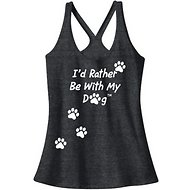 I'd Rather Be With My Dog Women's Racerback Tank Top, Charcoal, X-Small