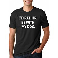 I'd Rather Be With My Dog Unisex Adult Short Sleeve T-Shirt, Black, Small