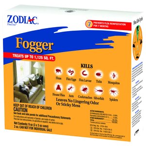 Zodiac Flea & Tick Room Fogger, 3-oz, 3 pack; Bid farewell to you pest troubles with the Zodiac Flea & Tick Room Fogger. Helping pet owners to stop uninvited guests dead in their tracks, it's the quickest, easiest and most economical way to treat the indoor environment! Working in just a couple hours, it leaves absolutely no sticky mess, stains or lingering odors. Just one treatment works for up to seven months, killing fleas and ticks plus the eggs and larvae to stop the life cycle before it ever starts again. It's also great for treating cockroaches, ants, spiders, mosquitos and silverfish without ever needing to call the exterminator.