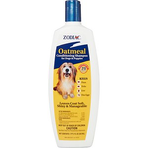 Zodiac Oatmeal Conditioning Shampoo for Dogs & Puppies, 18-oz; Bug free is the way to be with the Zodiac Oatmeal Conditioning Shampoo for Dogs & Puppies. A concentrated lathering shampoo enriched with oatmeal, coconut extract, lanolin and aloe, it leaves your dog's coat soft, shiny, manageable and smelling great. But more importantly for your itchy pal, it also kills fleas, ticks and lice, and contains the PRECOR Insect Growth Regulator to continue killing eggs for up to 28 days—thus killing pre-adults before they ever become biting adults and breaking the life cycle. And just to make matters even better, it also removes loose dandruff, dirt and scales to leave your pooch in tip-top shape.