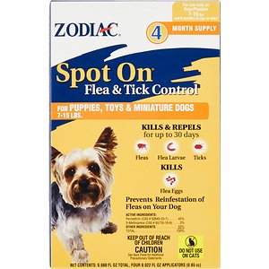 Zodiac Spot On Flea & Tick Control for Puppies & Toy Dogs 7-15 lbs, 4 treatments; Keep your pet protected with the Zodiac Spot On Flea & Tick Control for Puppies & Toy Dogs 7-15 lbs. This spot-on treatment works to kill and repel fleas, ticks and mosquitoes for up to 30 days, as well as kill flea eggs to prevent the cycle of re-infestation. It's easily applied at the base of the neck, and then it's spread throughout the entire body through the skin oils and hair—meaning your pooch is covered from head to tail. It's perfectly safe for dogs and puppies over six months of age, and the four month supply keeps those pests away for a long time to come.