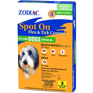Zodiac Spot On Flea & Tick Control for Large Dogs Over 60 lbs, 4 treatments; Keep your pet protected with the Zodiac Spot On Flea & Tick Control for Large Dogs Over 60 lbs. This spot-on treatment works to kill and repel fleas, ticks and mosquitoes for up to 30 days, as well as kill flea eggs to prevent the cycle of re-infestation. It's easily applied at the base of the neck, and then it's spread throughout the entire body through the skin oils and hair—meaning your pooch is covered from head to tail. It's perfectly safe for dogs and puppies over six months of age, and the four month supply keeps those pests away for a long time to come.