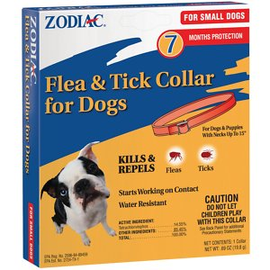 Zodiac Flea & Tick Collar for Small Dogs, 15-in; Give your pooch superior pest prevention with the Zodiac Flea & Tick Collar for Small Dogs. This collar works from head to tail to ensure he's covered from every angle, and the active ingredients work fast to kill and repel adult fleas and ticks—including those that may carry Lyme design. It starts working on contact to give your pet fast relief, and it amazingly continues to work for 7 months of formidable pest protection! Plus, it's water-resistant, which means it keeps on working even after multiple baths or a swim in the lake or pool.