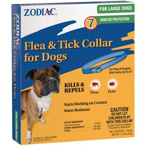 Zodiac Flea & Tick Collar for Large Dogs, 26-in; Give your pooch superior pest prevention with the Zodiac Flea & Tick Collar for Large Dogs. This collar works from head to tail to ensure he's covered from every angle, and the active ingredients work fast to kill and repel adult fleas and ticks—including those that may carry Lyme design. It starts working on contact to give your pet fast relief, and it amazingly continues to work for 7 months of formidable pest protection! Plus, it's water-resistant, which means it keeps on working even after multiple baths or a swim in the lake or pool.