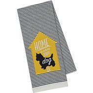 Design Imports Dog Embellished Dishtowel, Black & White Stripe