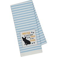 Design Imports Dog Embellished Dishtowel, Blue Stripe