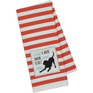 Design Imports Dog Embellished Dishtowel, Red Stripe