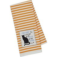 Design Imports Cat Embellished Dishtowel, Orange Stripe