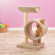 Molly and Friends Loft and Round 37-in Cat Tree & Scratching Post, Beige