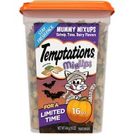 Temptations Mixups Mummy Mix Ups Catnip, Tuna & Dairy Flavors Cat Treats, 16-oz tub